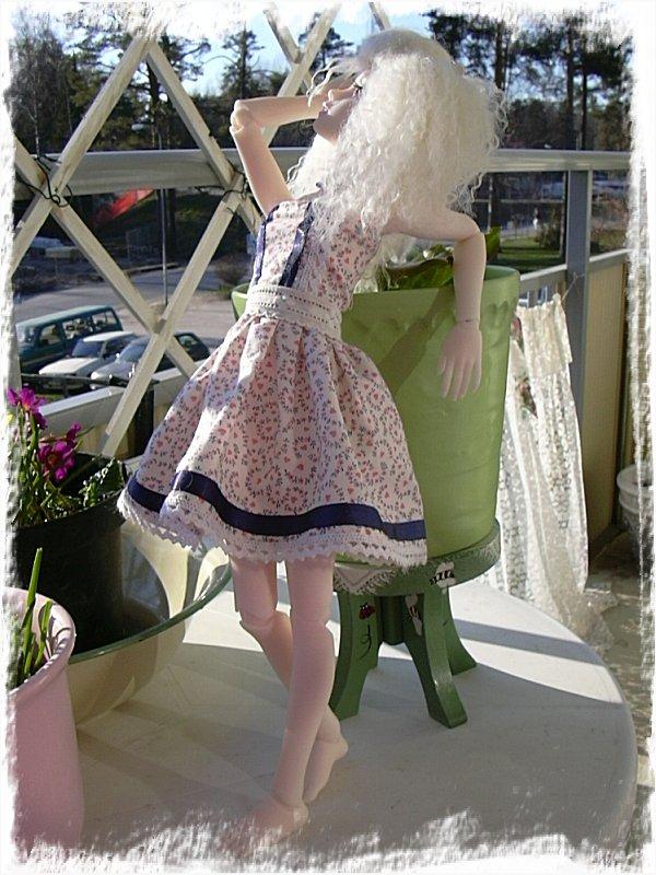 Fotomodell på balkongen