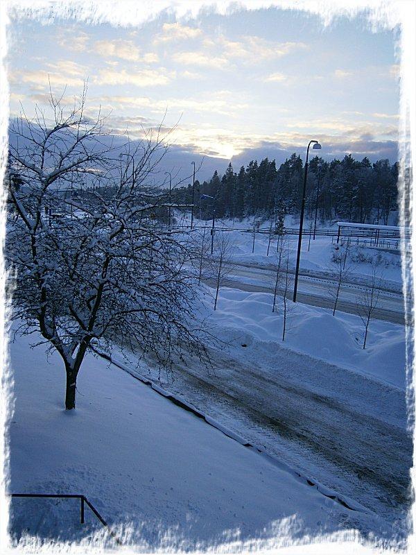 Vinterutsikt från balkongen