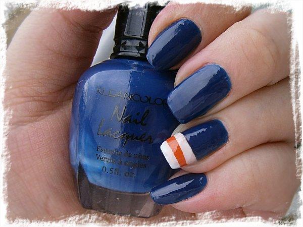 Klean Color Neon Sapphire + Union Jack inspirerad nailart