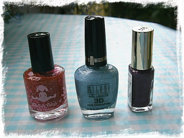 Dollish Polish A Peachy Princess, Milani Cyberspace, L'Oreal Wild Purple