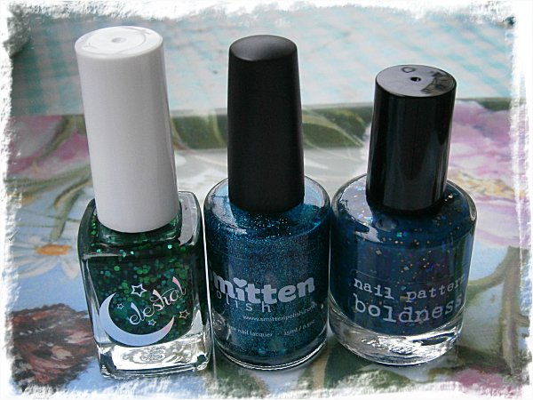 Celestial Cosmetics Liquid Lawn , Smitten Polish Glacier Springs, Nail Pattern Boldness Slow Invasion