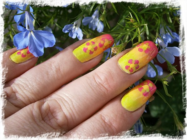 Neongradient med skakiga blommor